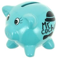 Promobo - Tirelire En Céramique Design Petit Cochon Mots Humour Mr Cochon Bleu