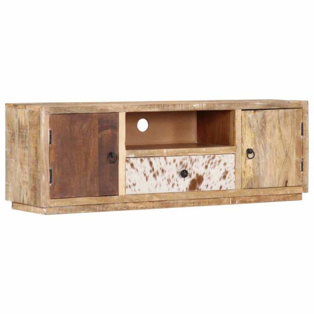 Helloshop26 Meuble télé buffet tv télévision design pratique 120 cm bois massif de manguier 2502271
