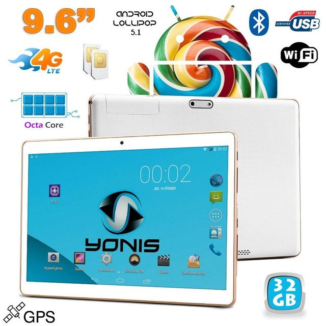 Yonis Tablette 4G 9.6 pouces Android 5.1 Dual Sim Octa Core Gps 32Go Blanc