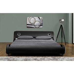 fournier decoration vibe lit pu noir liser blanc 2 haut parleurs integres 180x200 cm 180cm x. Black Bedroom Furniture Sets. Home Design Ideas