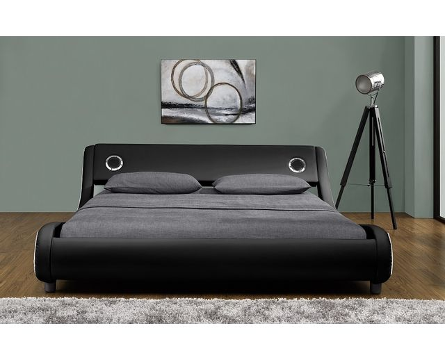 fournier decoration vibe lit pu noir liser blanc 2 haut parleurs integres 160x200 cm pas. Black Bedroom Furniture Sets. Home Design Ideas