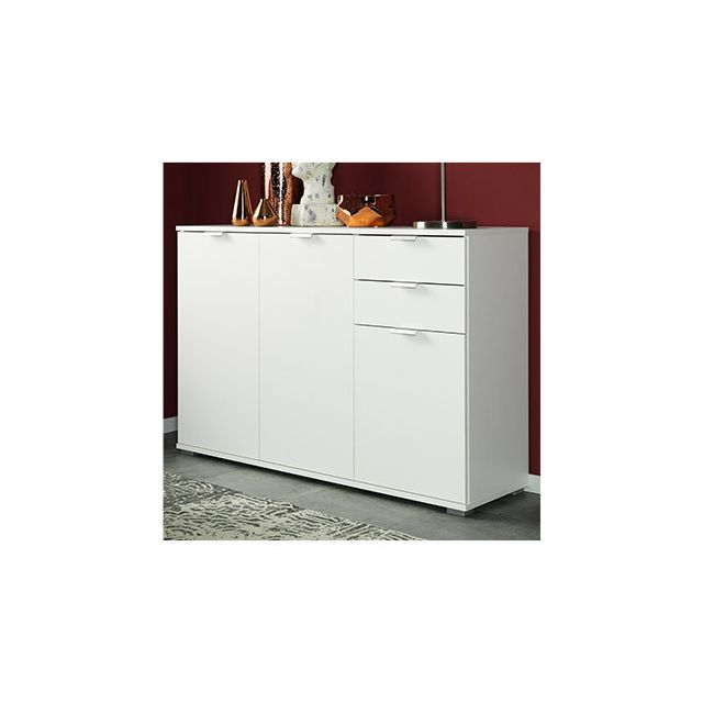 Commode 3 portes 2 tiroirs 107x76x35cm blanc