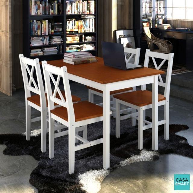 Casasmart Lot table Silo salle à manger bois + 4 chaises marron