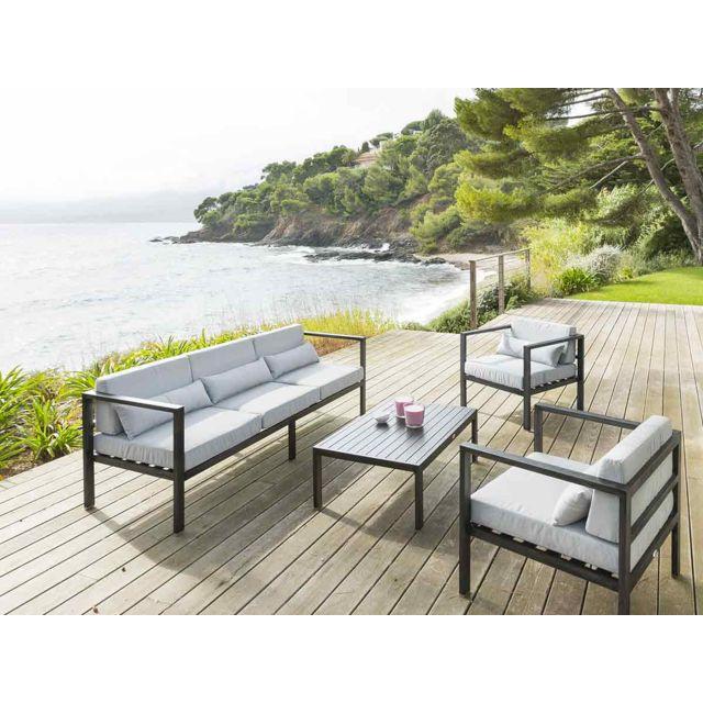 HESPERIDE - Salon de jardin en métal effet bois Figari 1 ...