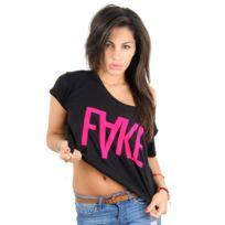 Fake - paris - Croptop t-shirt logo Xl pink