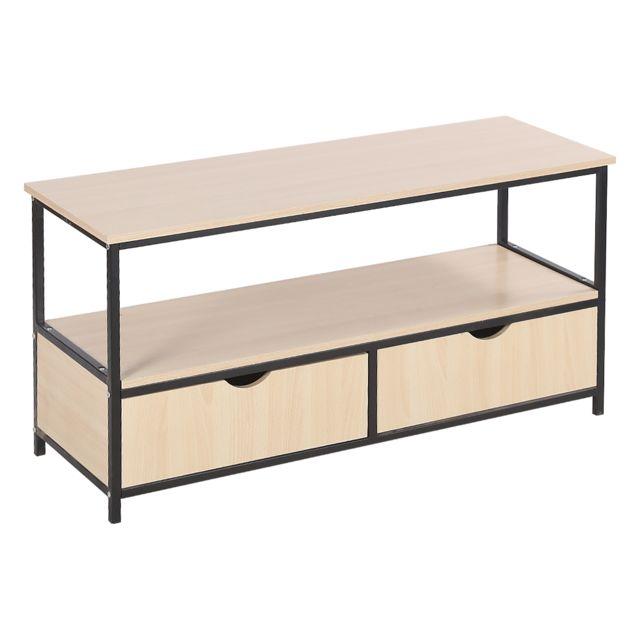 Ltppstore Meuble Tv design industriel avec deux tiroirs Couleur bois 110 40 55cm