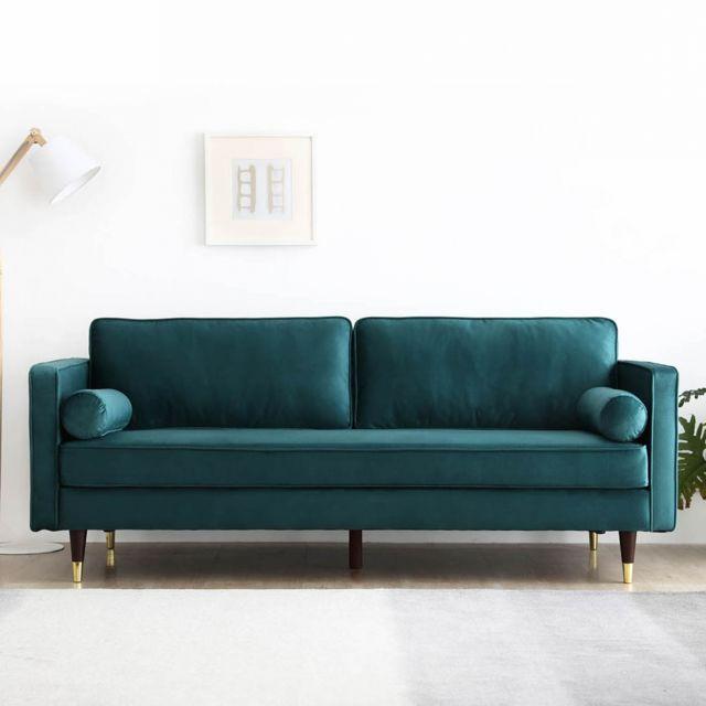 CONCEPT USINE Nalha - Canapé 3 places vert en velours