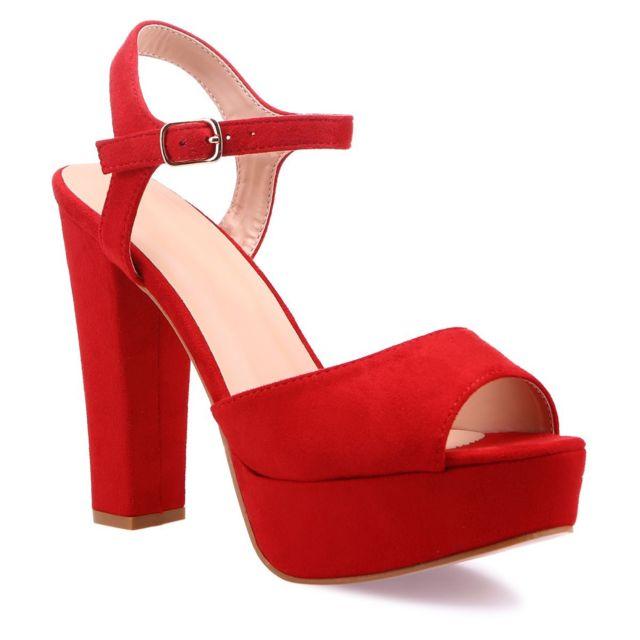 Lamodeuse Sandales rouges à talon haut et plateforme pas
