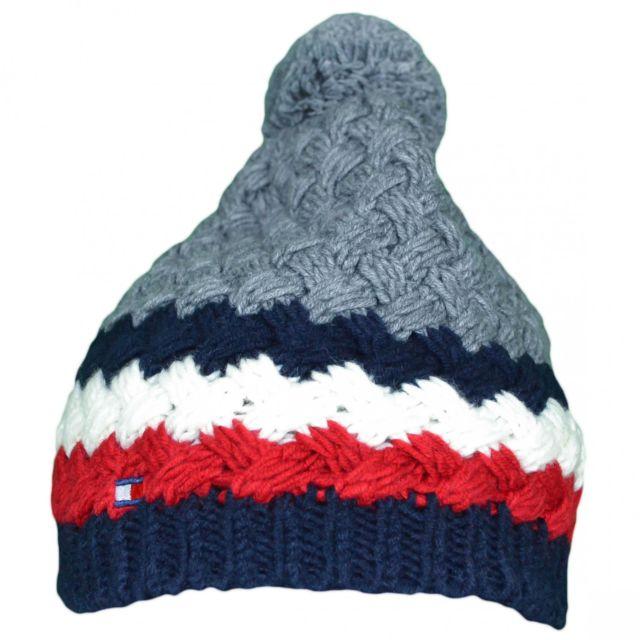 ddfe5dedd6d6 Tommy hilfiger - Bonnet tricoté gris en laine pour homme - pas cher Achat   Vente  Casquettes, bonnets, chapeaux - RueDuCommerce