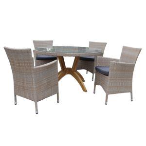 Rotin-design - Table et chaises de jardin Vanda en résine Gris - pas ...