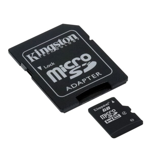 KINGSTON - Carte Mémoire Micro SDHC - 4 Go - Classe 4 - SDC4/4GB + Adaptateur SD fourni