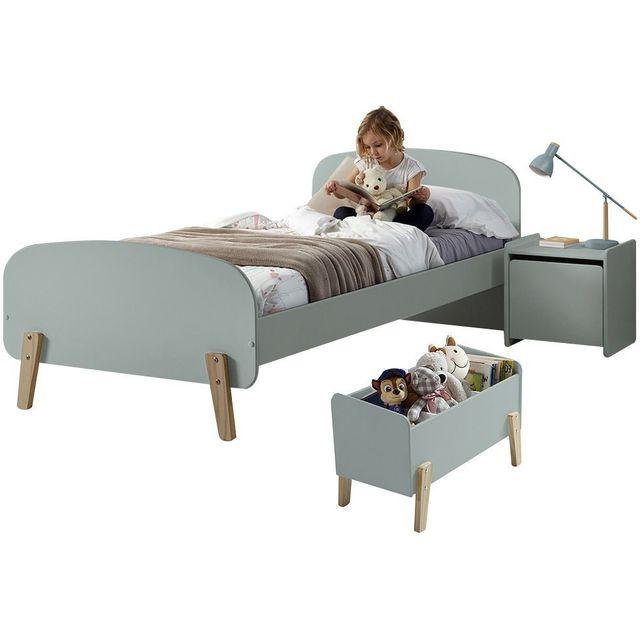 Ensemble Chambre Enfant Design Scandinave Avec Lit 90x200 Chevet Et Coffre De Rangement Coloris Vert Blanc