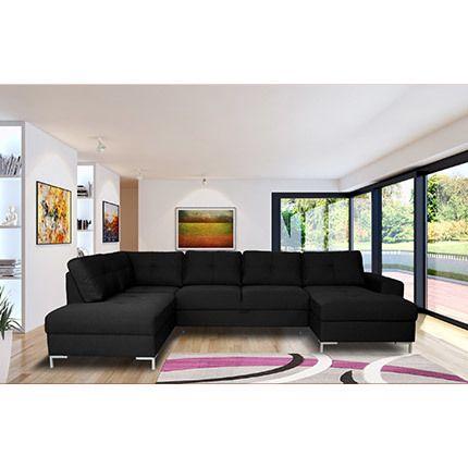 Canapé angle fixe avec coffre en tissu noir - Aliocha