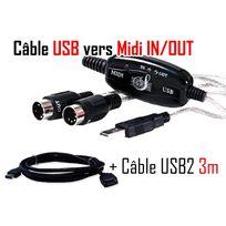 Cabling - Pack Usb Vers Midi Interface adaptateur câble Midi + rallonge Usb 3 mètres