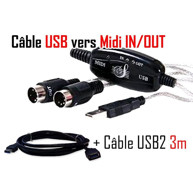 Cabling - Midi Cable Usb pour clavier musical Windows Xp Vista et Mac Os X adaptateur compatible pour ordinateur portable de musique In-Out Interface + rallonge usb 3m