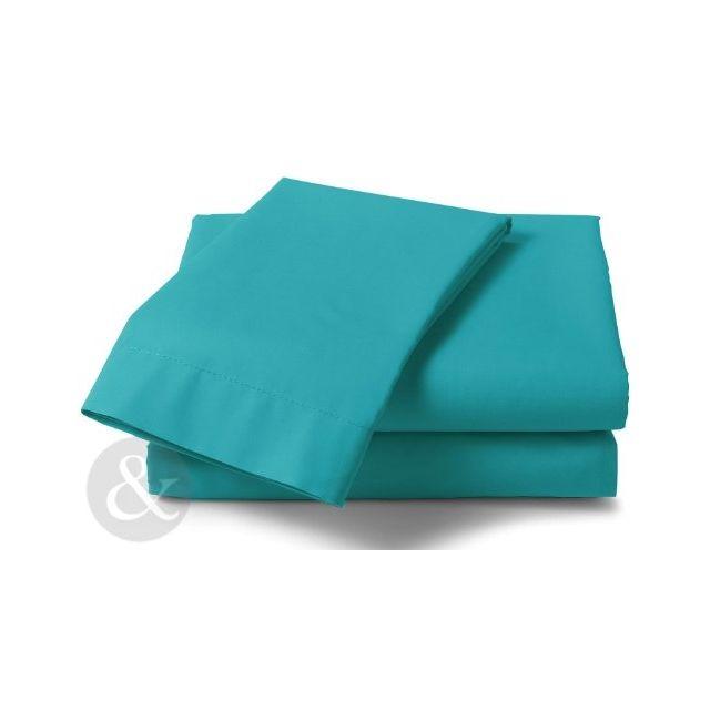 just contempo drap housse en polycoton poly coton turquoise king size pas cher achat. Black Bedroom Furniture Sets. Home Design Ideas