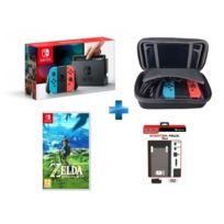 NINTENDO - Switch avec paire de Joy-Con rouge et bleu + The Legend of Zelda : Breath of the Wild + malette de rangement + pack d'accessoires 7 en 1