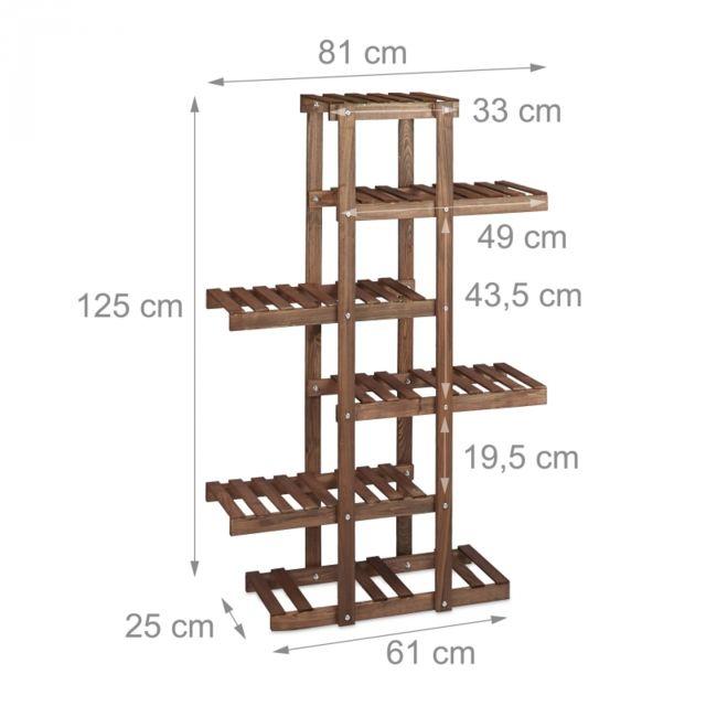 Autre Etagère à fleurs en bois escalier pour plantes 5 niveaux marron foncé 2213012