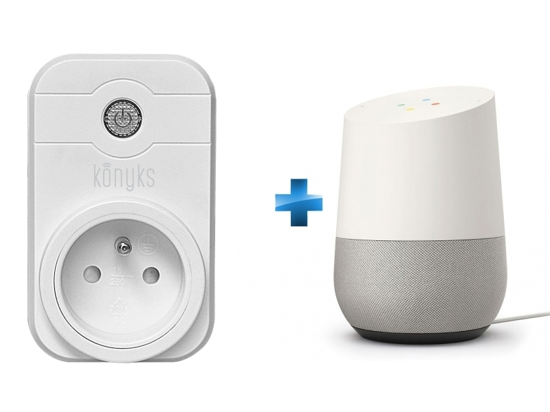 Prise pilotée Wifi compatible Google Home et Amazon Alexa + Enceinte intelligente - Google Home