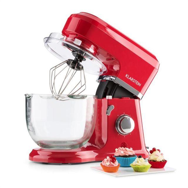 KLARSTEIN Allegra Rossa Robot de cuisine multifonction 800W Bol verre 4,2L - rouge
