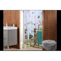 Planetebain - Rideau de douche Zen garden de couleur taupe et vert