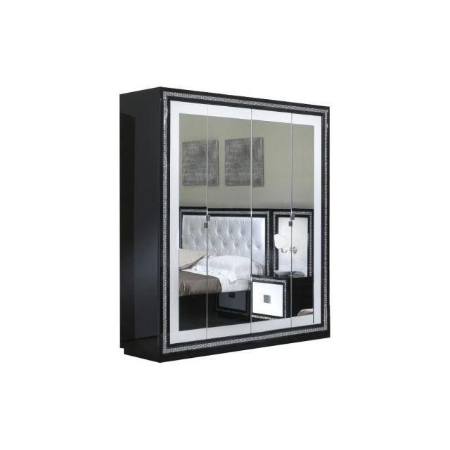 Decodesign Armoire 4 portes Krystel Noir-Blanc
