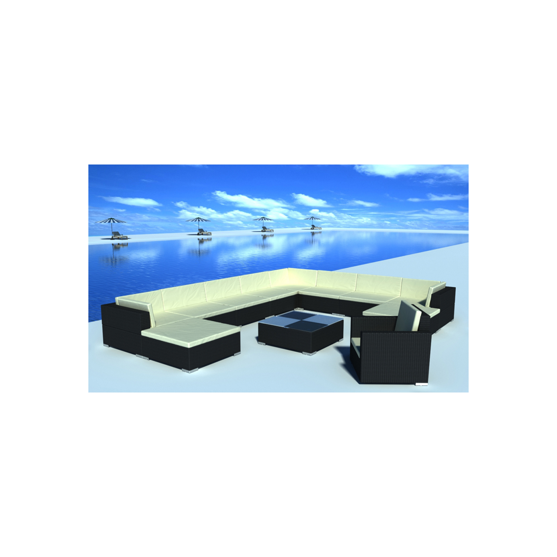 vidaxl salon de jardin 35 pi ces noir en polyrotin pas cher achat vente ensembles tables. Black Bedroom Furniture Sets. Home Design Ideas
