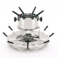 Kela - Manège à fondue pour 6 personnes en inox et bois avec coupelle en céramique blanc Livorno
