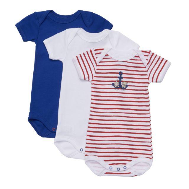 PETIT BATEAU - Lot de 3 Bodies bébé - pas cher Achat   Vente  Sous-vêtements 4581ea516b4