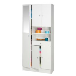 colonne multi rangement largeur 82cm coloris blanc pas. Black Bedroom Furniture Sets. Home Design Ideas