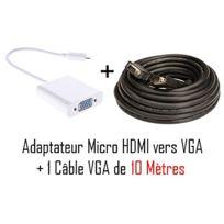 Cabling - Adaptateur convertisseur micro Hdmi vers pour ordinateur de bureau / portable / ultrab, + Cable Vga M/M 10 mètres