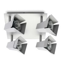 Mathias - Plafonnier carré 4 spots orientables en métal chromé longueur 20cm Cine