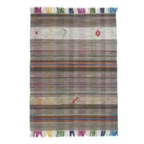 Mon Beau Tapis - Tapis Tribal Vintage Kilim Gris 230x160cm