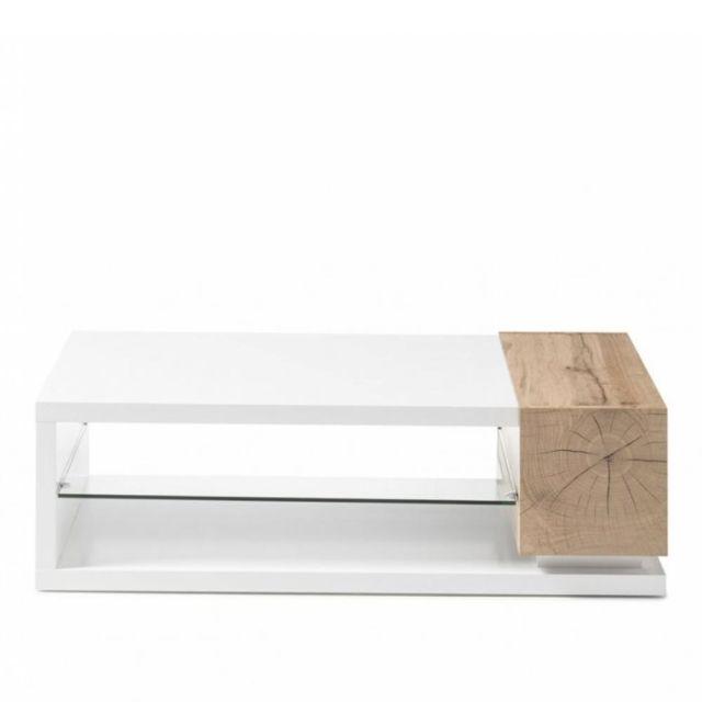 Inside 75 Table basse Mardin 120 x 63 cm décor chêne noueux et blanc laqué blanc