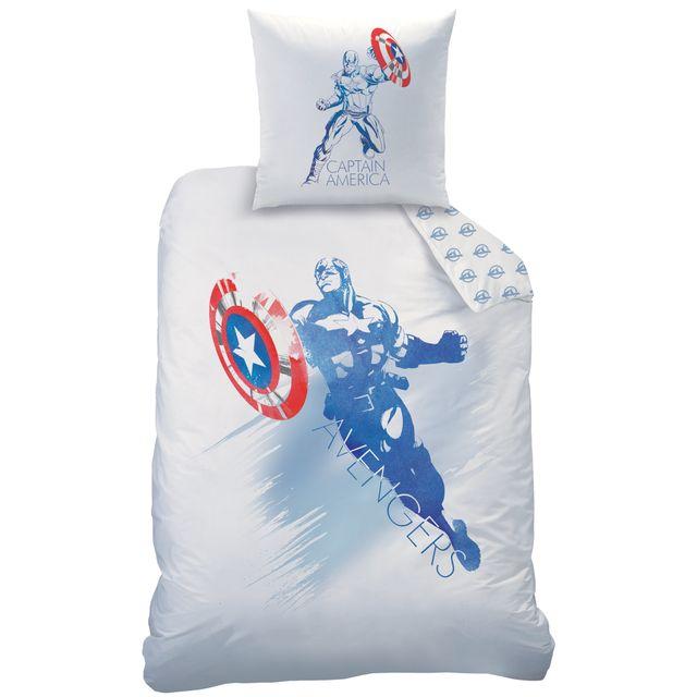 avengers housse de couette et taie d 39 oreiller 140x200 cm air 100 coton blanc 140cm x 200cm. Black Bedroom Furniture Sets. Home Design Ideas