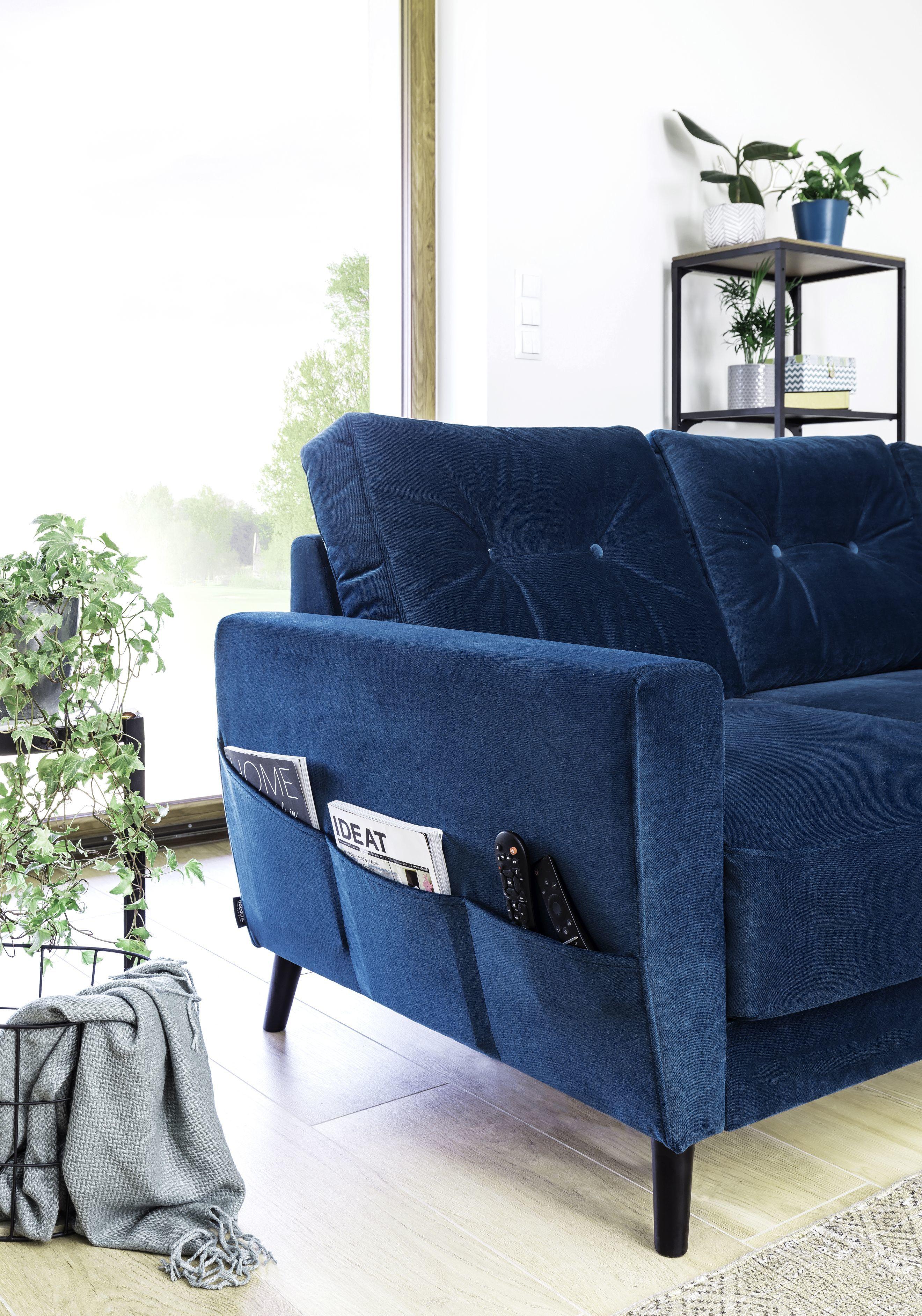 bobochic - canapé scandi l fixe angle droit bleu marine velours