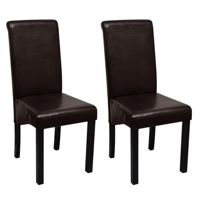 Rocambolesk Superbe Set de 2 chaises de salle à manger marron en cuir artificiel Neuf
