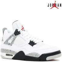 Jordan - Nike Air 4 Retro Iv White Cement '89 Og Nike Air Edition 840606-192 White/Fire Red/Black/Tech GreyAir 100% authentique