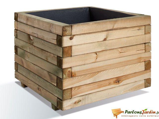JARDIPOLYS - Jardinière carrée en bois maxi volume Stockholm 80 1