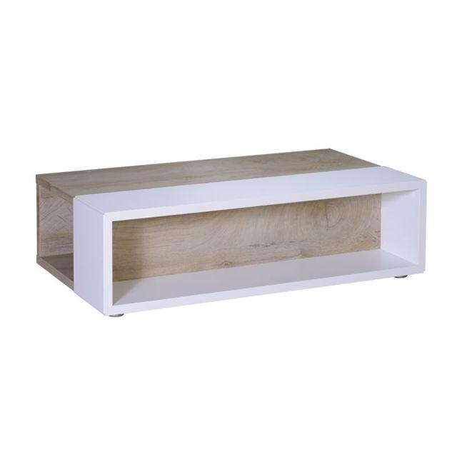 Table basse Chêne délavé/Blanc mat - Florine