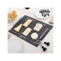 Atopoir Noir - Plateau en Ardoise Rectangulaire pour Fromages avec Accessoires