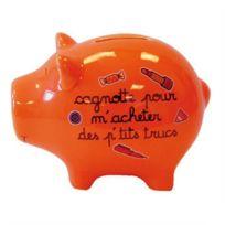 Decoetdesmots - Tirelire Cochon Orange - p'tits trucs