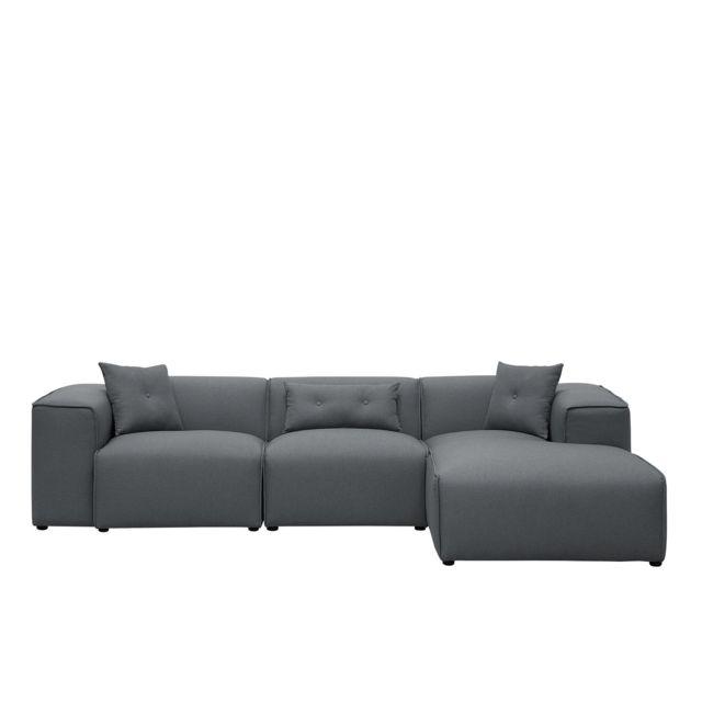 BELIANI Canapé d'angle en tissu gris foncé DOLVA - gris foncé