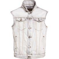 Gov Denim - Veste en jean sans manches urbain Gris Td_0483 XXL
