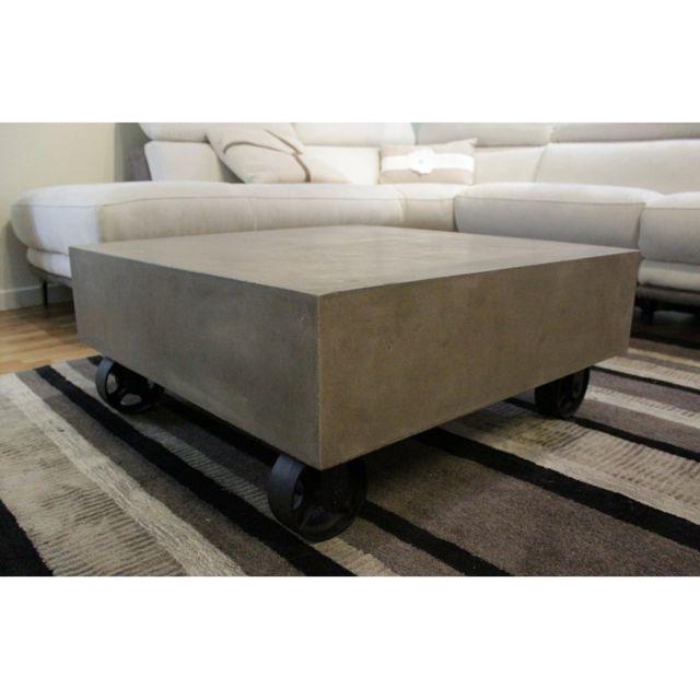 Meubletmoi Table basse en béton avec roulettes - Grey