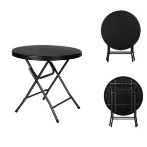 toolland table d 39 appoint pliante ronde interieur exterieur fa on rotin noir pas cher achat. Black Bedroom Furniture Sets. Home Design Ideas