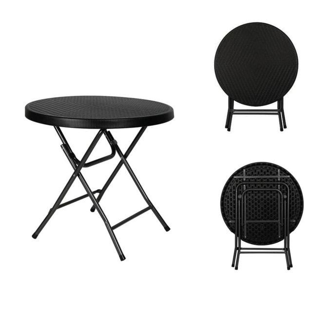 Toolland Table d'appoint pliante ronde interieur exterieur façon rotin