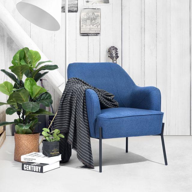 Mobilia Fauteuil relax très épais canapé Scandinave bleu tissu