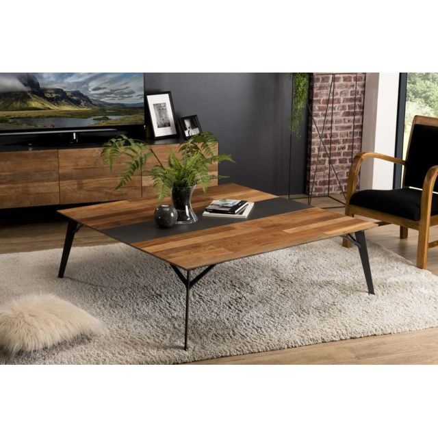 MACABANE Table basse carrée 120x120cm Teck recyclé métal et pieds métal