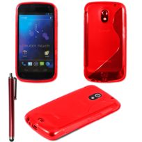 Vcomp - Housse Etui Coque souple silicone gel motif S-line pour Samsung Galaxy Nexus i9250/ i9250M/ Google Nexus 3 + stylet - Rouge